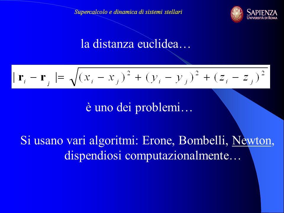 Si usano vari algoritmi: Erone, Bombelli, Newton, dispendiosi computazionalmente… la distanza euclidea… è uno dei problemi… Supercalcolo e dinamica di