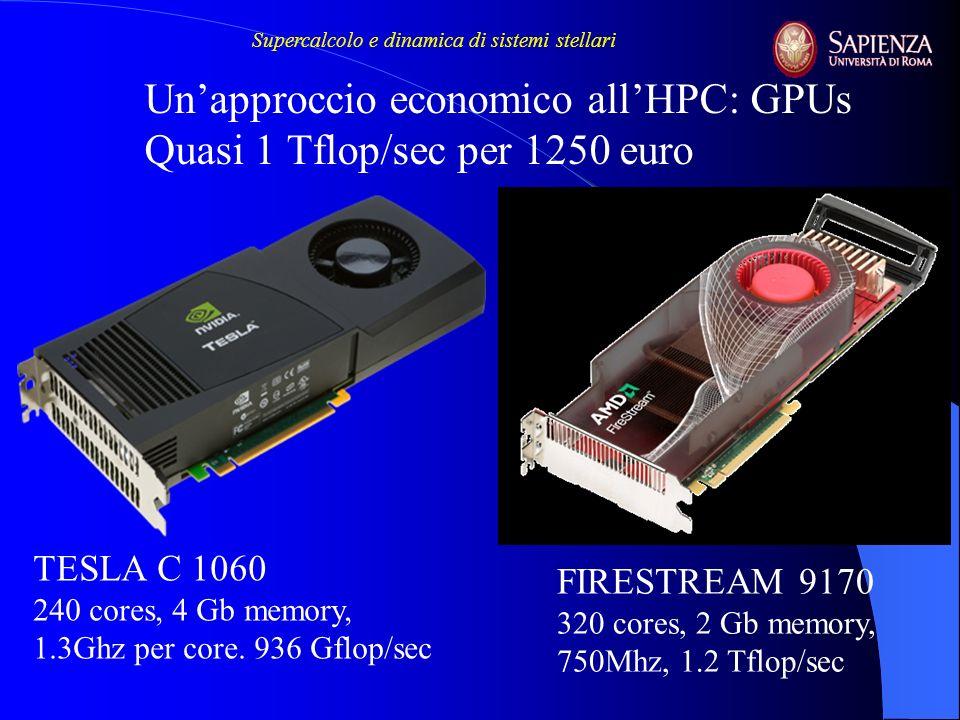Unapproccio economico allHPC: GPUs Quasi 1 Tflop/sec per 1250 euro TESLA C 1060 240 cores, 4 Gb memory, 1.3Ghz per core. 936 Gflop/sec FIRESTREAM 9170