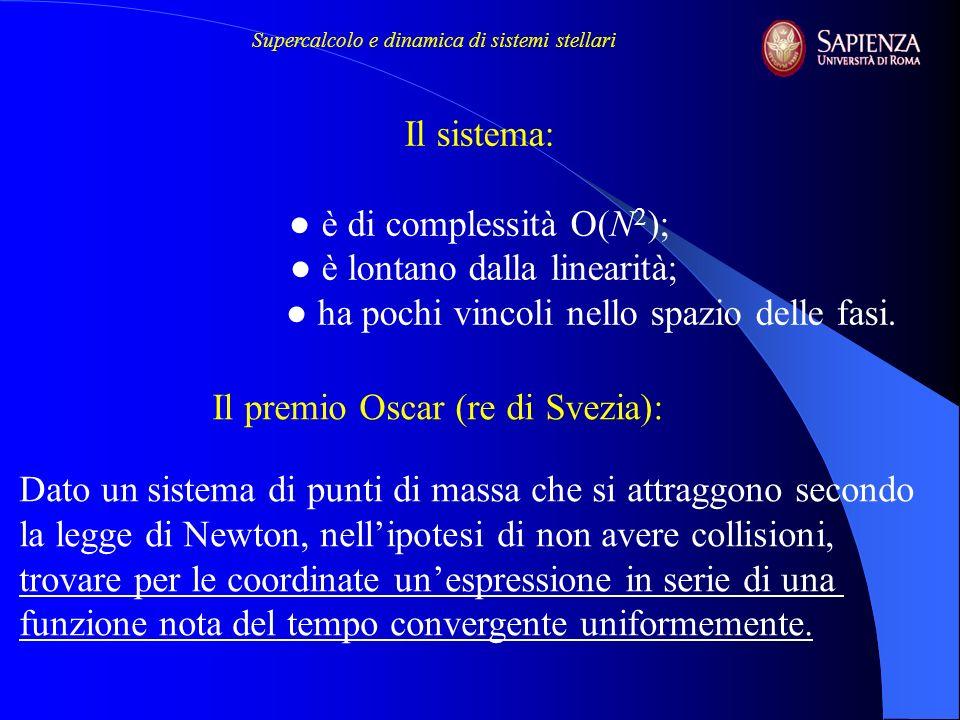 Il sistema: è di complessità O(N 2 ); è lontano dalla linearità; ha pochi vincoli nello spazio delle fasi. Il premio Oscar (re di Svezia): Dato un sis