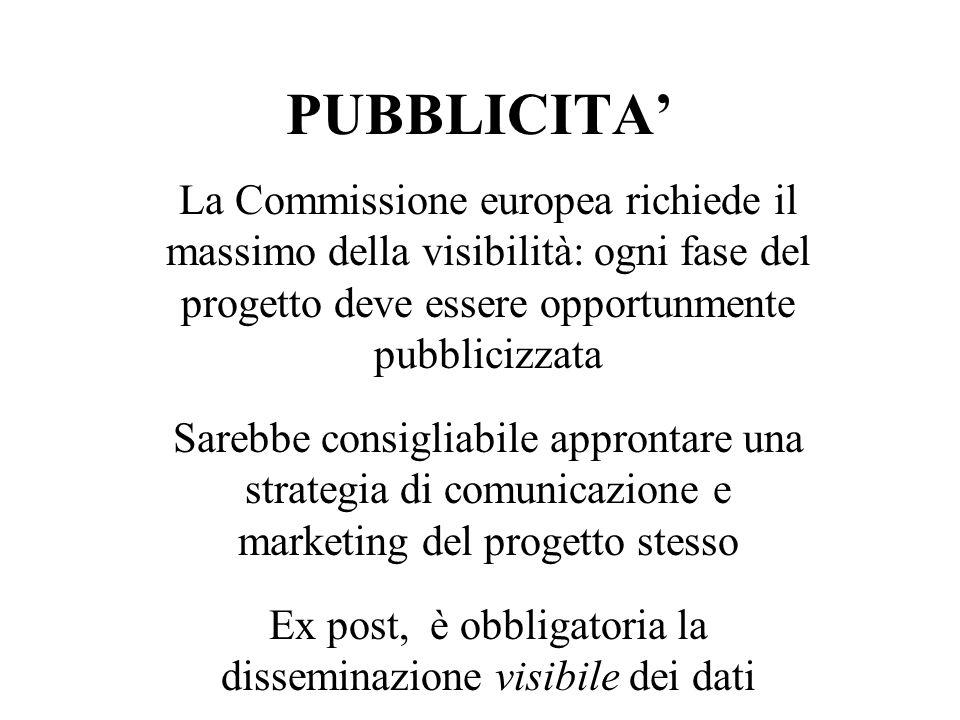 PUBBLICITA La Commissione europea richiede il massimo della visibilità: ogni fase del progetto deve essere opportunmente pubblicizzata Sarebbe consigliabile approntare una strategia di comunicazione e marketing del progetto stesso Ex post, è obbligatoria la disseminazione visibile dei dati