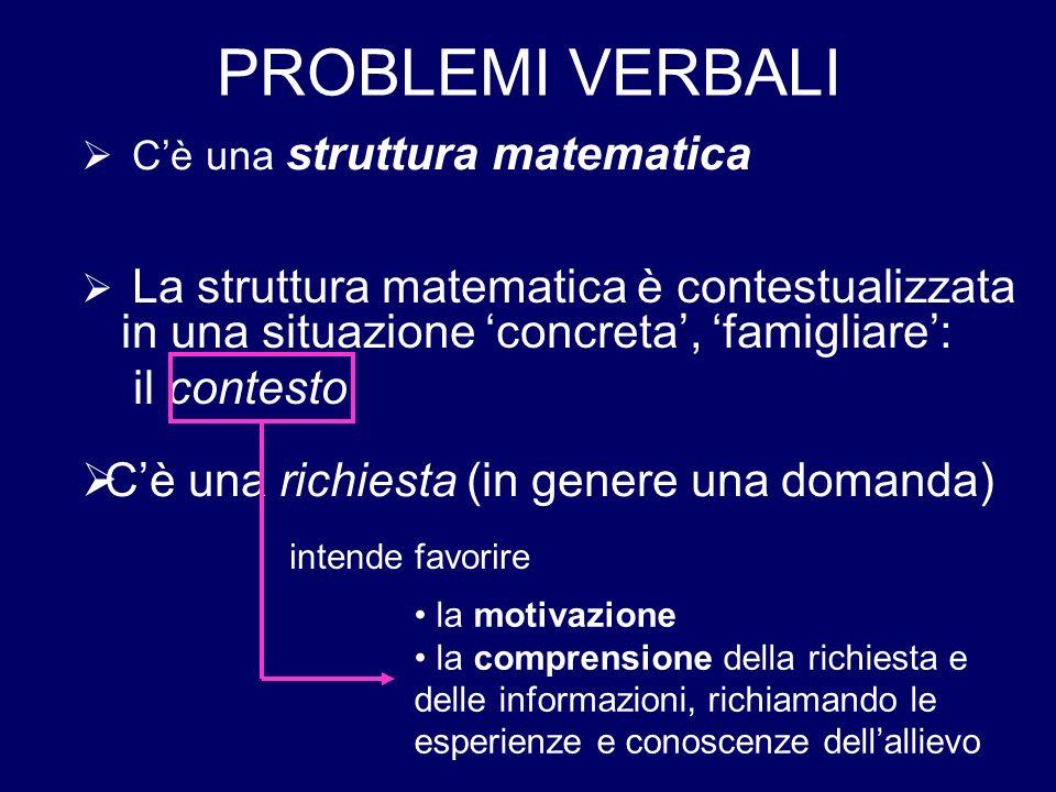PROBLEMI VERBALI La struttura matematica è contestualizzata in una situazione concreta, famigliare: il contesto Cè una richiesta (in genere una domand
