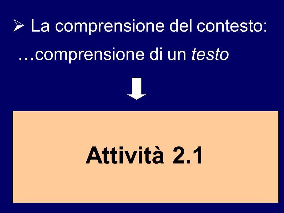 La comprensione del contesto: …comprensione di un testo Attività 2.1