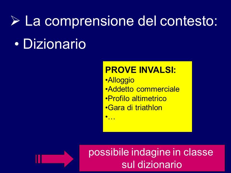 La comprensione del contesto: Dizionario PROVE INVALSI: Alloggio Addetto commerciale Profilo altimetrico Gara di triathlon … possibile indagine in cla