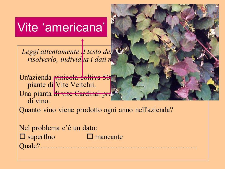 Leggi attentamente il testo del seguente problema e, senza risolverlo, individua i dati mancanti o superflui: Un'azienda vinicola coltiva 500 piante d