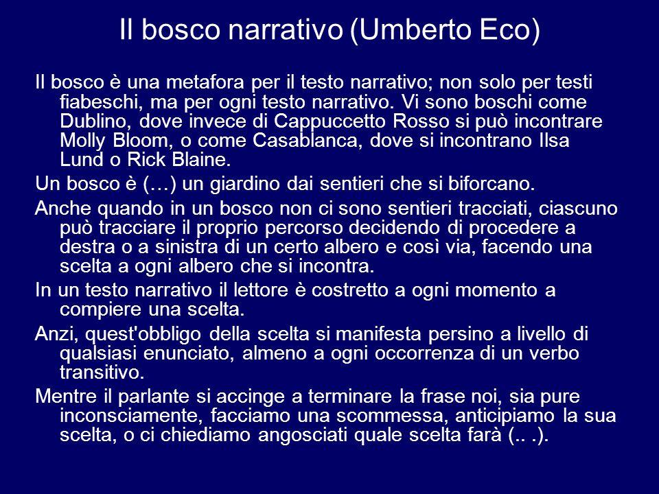 Il bosco narrativo (Umberto Eco) Il bosco è una metafora per il testo narrativo; non solo per testi fiabeschi, ma per ogni testo narrativo. Vi sono bo