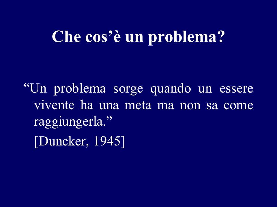 Che cosè un problema? Un problema sorge quando un essere vivente ha una meta ma non sa come raggiungerla. [Duncker, 1945]