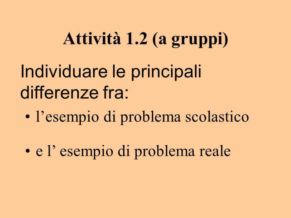 Attività 1.2 (a gruppi) lesempio di problema scolastico e l esempio di problema reale Individuare le principali differenze fra: