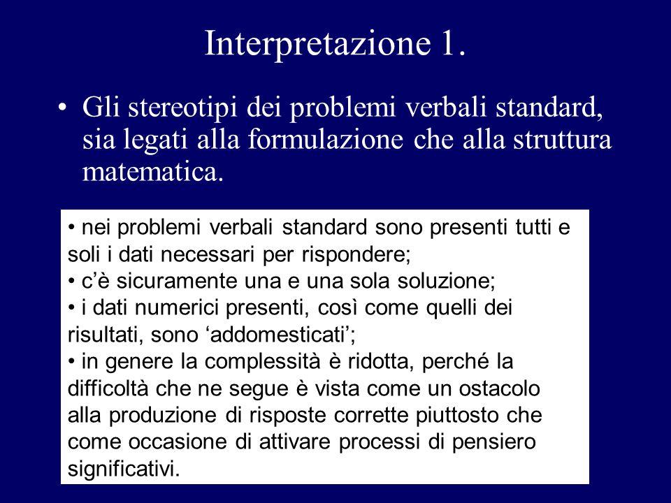 Interpretazione 1. Gli stereotipi dei problemi verbali standard, sia legati alla formulazione che alla struttura matematica. nei problemi verbali stan