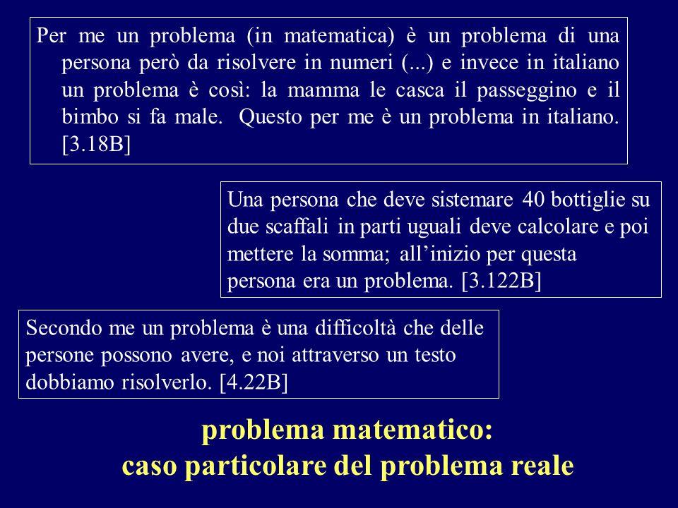 Per me un problema (in matematica) è un problema di una persona però da risolvere in numeri (...) e invece in italiano un problema è così: la mamma le
