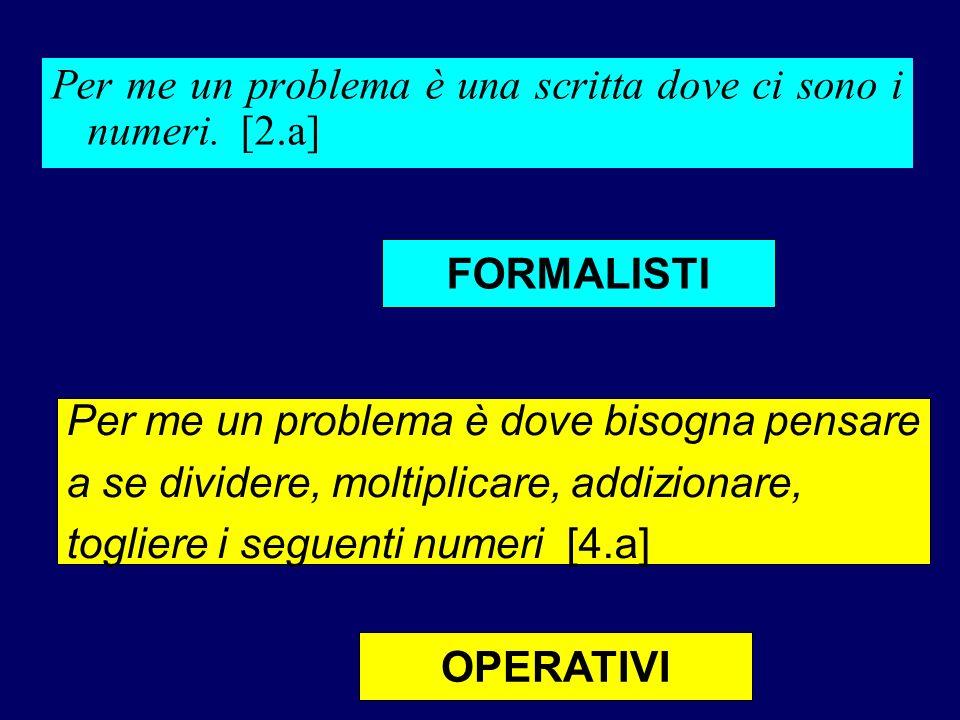 Per me un problema è una scritta dove ci sono i numeri. [2.a] Per me un problema è dove bisogna pensare a se dividere, moltiplicare, addizionare, togl