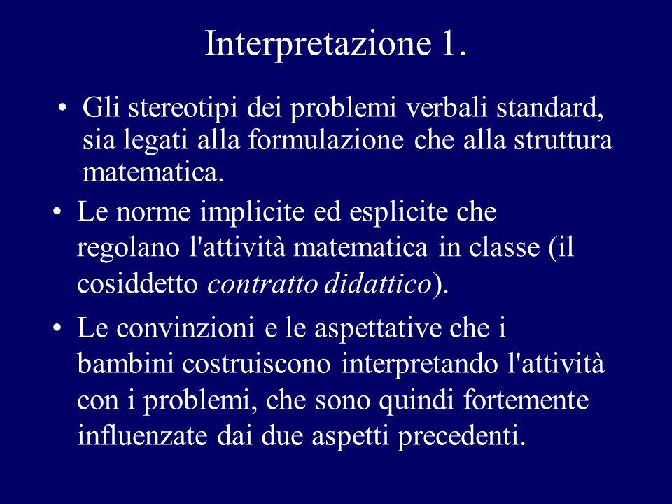 Interpretazione 1. Le norme implicite ed esplicite che regolano l'attività matematica in classe (il cosiddetto contratto didattico). Gli stereotipi de