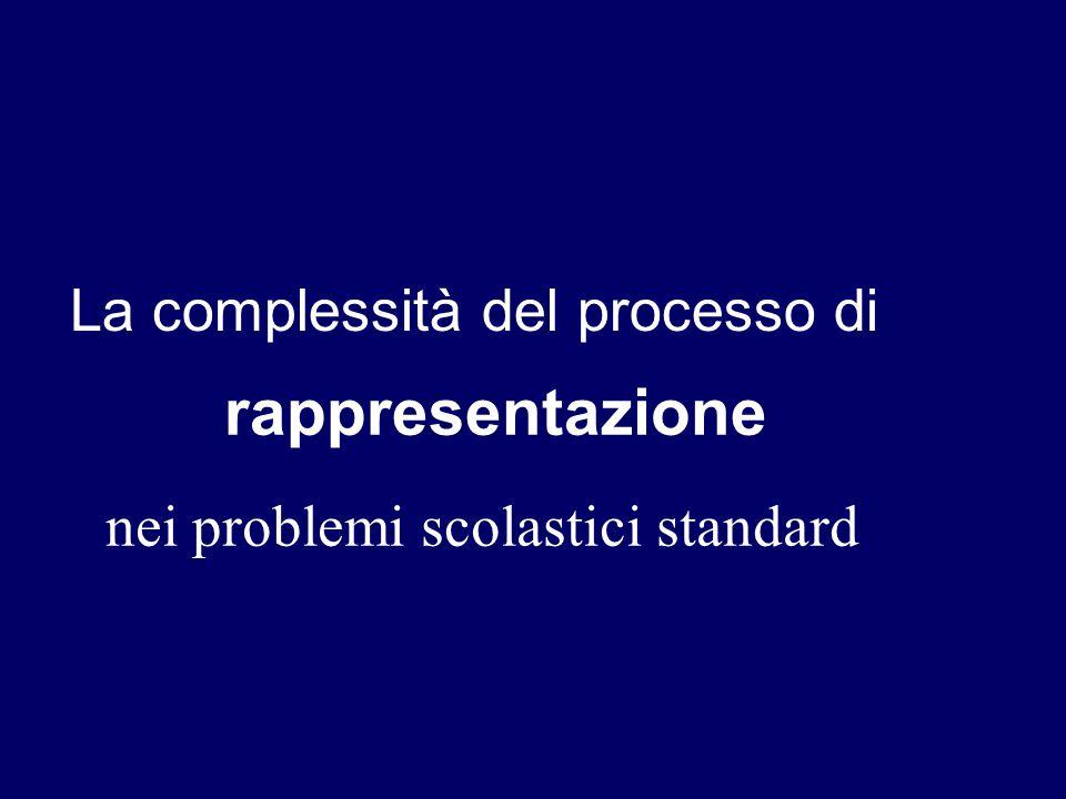 nei problemi scolastici standard La complessità del processo di rappresentazione