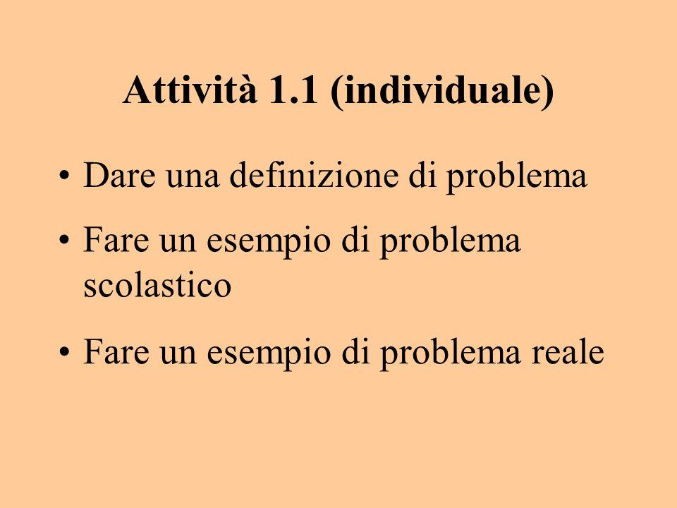 Attività 1.1 (individuale) Dare una definizione di problema Fare un esempio di problema scolastico Fare un esempio di problema reale