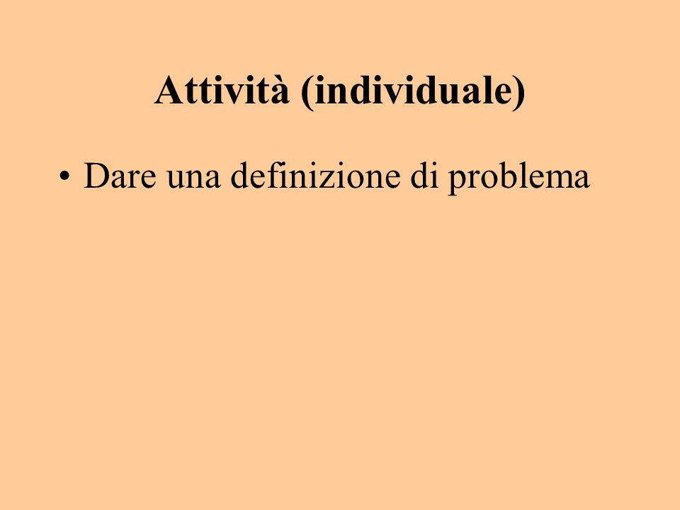 Attività (individuale) Dare una definizione di problema