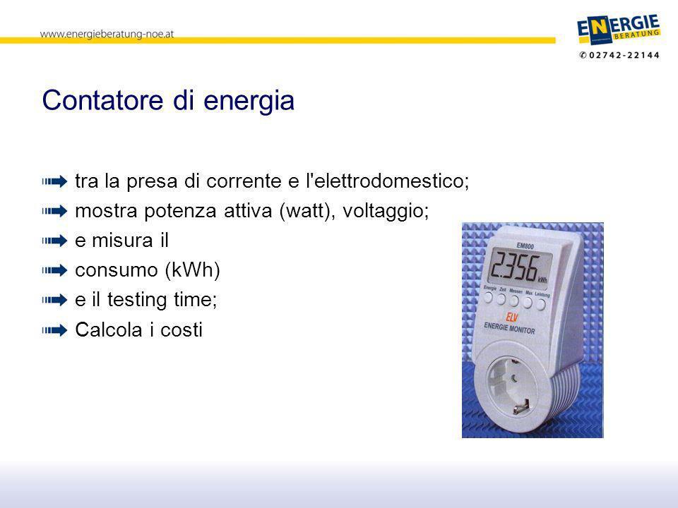 Contatore di energia tra la presa di corrente e l elettrodomestico; mostra potenza attiva (watt), voltaggio; e misura il consumo (kWh) e il testing time; Calcola i costi