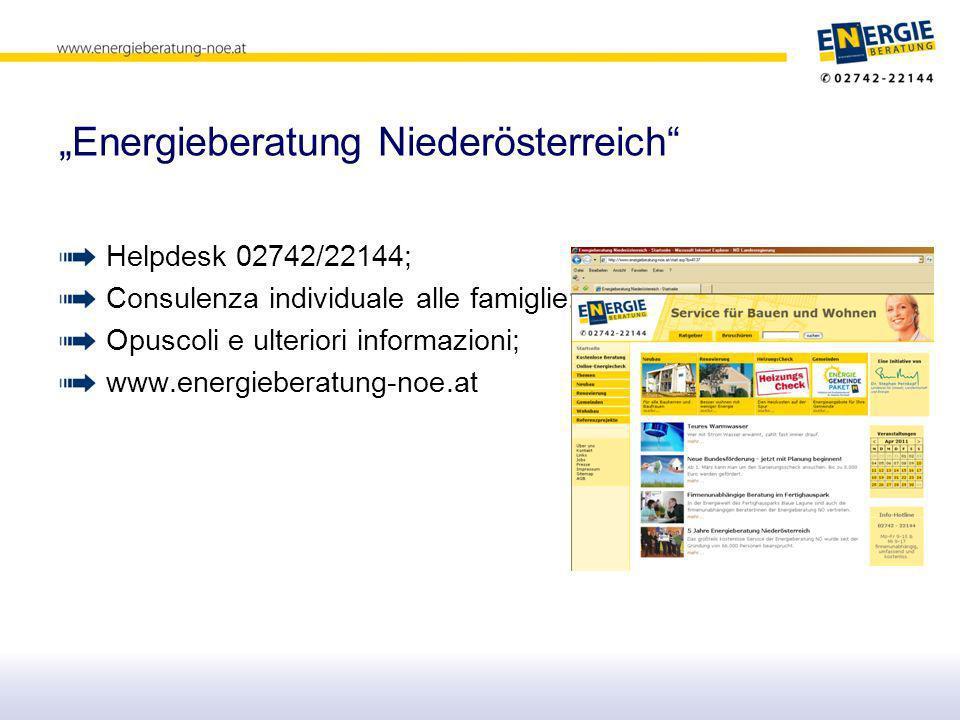 Energieberatung Niederösterreich Helpdesk 02742/22144; Consulenza individuale alle famiglie; Opuscoli e ulteriori informazioni; www.energieberatung-noe.at