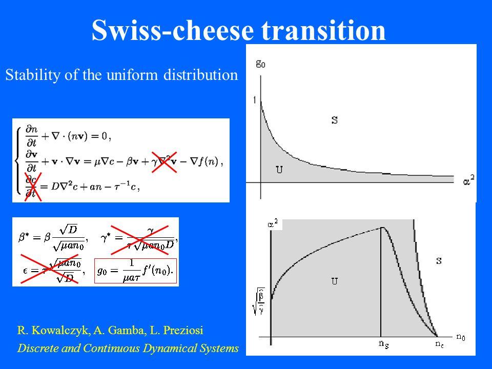 Swiss-cheese transition R.Kowalczyk, A. Gamba, L.