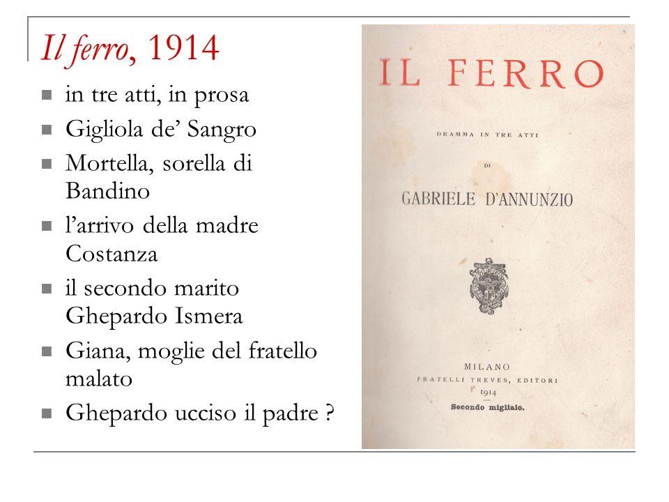 Il ferro, 1914 in tre atti, in prosa Gigliola de Sangro Mortella, sorella di Bandino larrivo della madre Costanza il secondo marito Ghepardo Ismera Gi