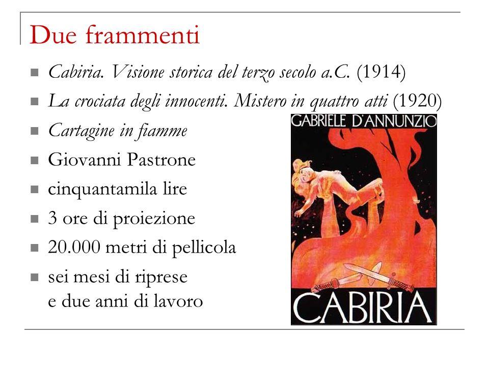 Due frammenti Cabiria. Visione storica del terzo secolo a.C. (1914) La crociata degli innocenti. Mistero in quattro atti (1920) Cartagine in fiamme Gi
