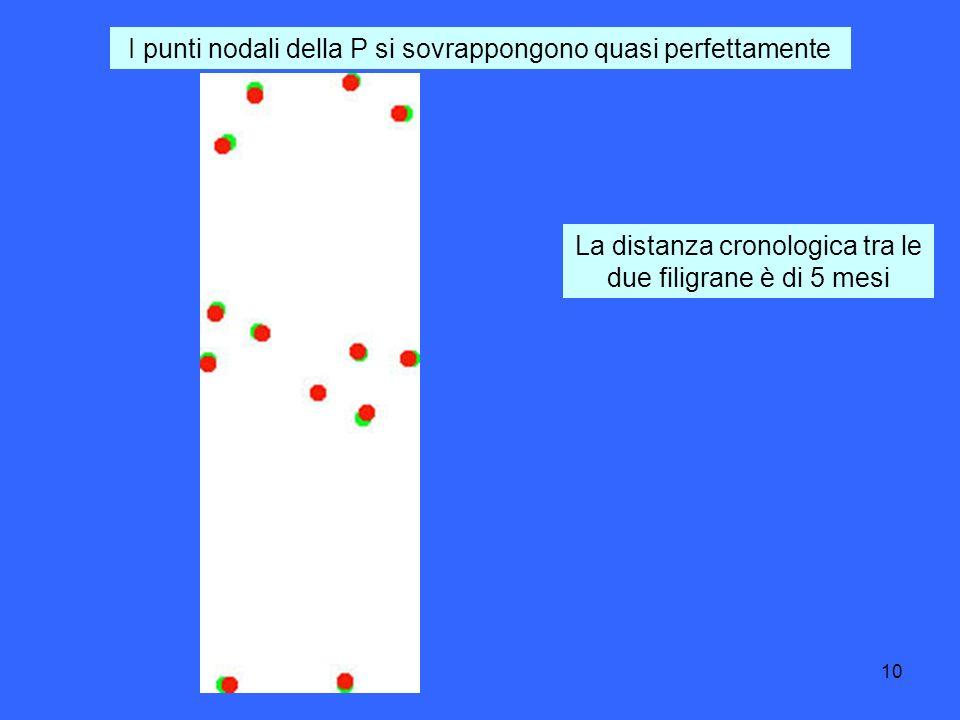 10 I punti nodali della P si sovrappongono quasi perfettamente La distanza cronologica tra le due filigrane è di 5 mesi