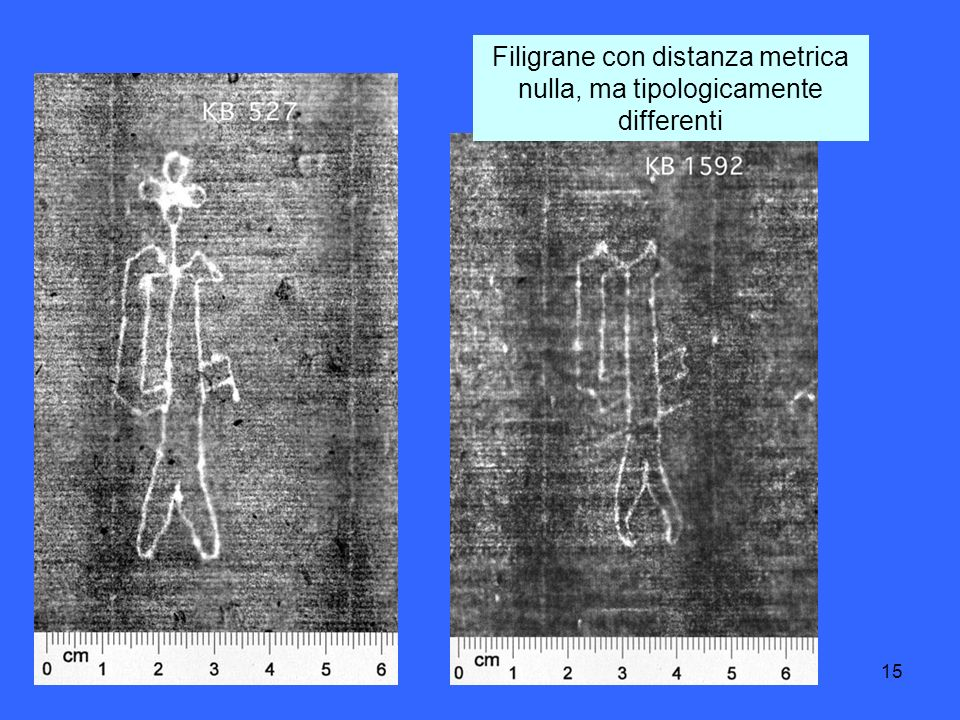 15 Filigrane con distanza metrica nulla, ma tipologicamente differenti