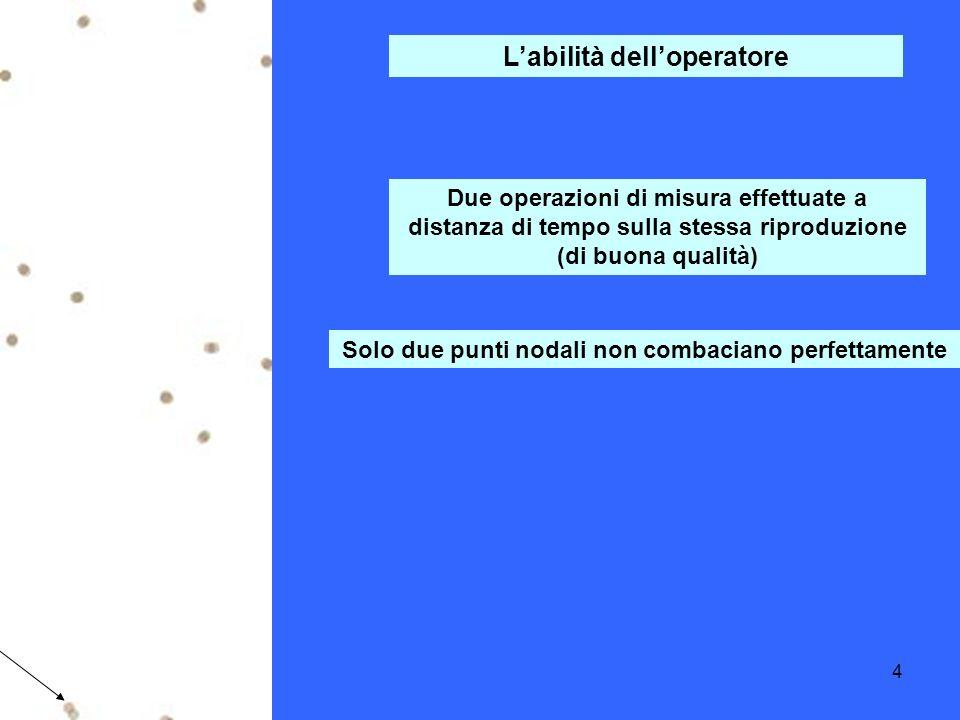 4 Due operazioni di misura effettuate a distanza di tempo sulla stessa riproduzione (di buona qualità) Solo due punti nodali non combaciano perfettamente Labilità delloperatore