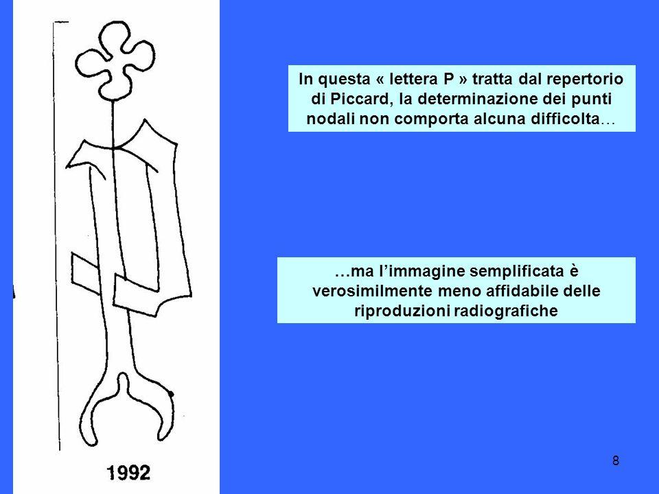 8 In questa « lettera P » tratta dal repertorio di Piccard, la determinazione dei punti nodali non comporta alcuna difficolta… …ma limmagine semplificata è verosimilmente meno affidabile delle riproduzioni radiografiche