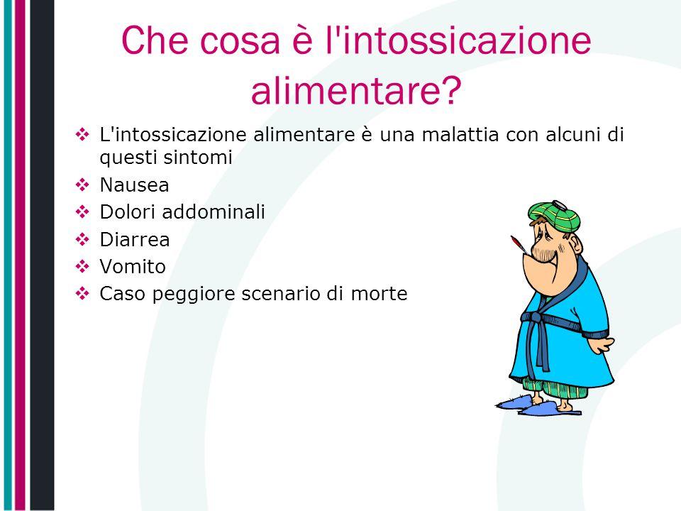 Che cosa è l'intossicazione alimentare? L'intossicazione alimentare è una malattia con alcuni di questi sintomi Nausea Dolori addominali Diarrea Vomit