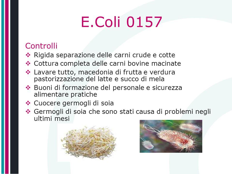 E.Coli 0157 Controlli Rigida separazione delle carni crude e cotte Cottura completa delle carni bovine macinate Lavare tutto, macedonia di frutta e ve