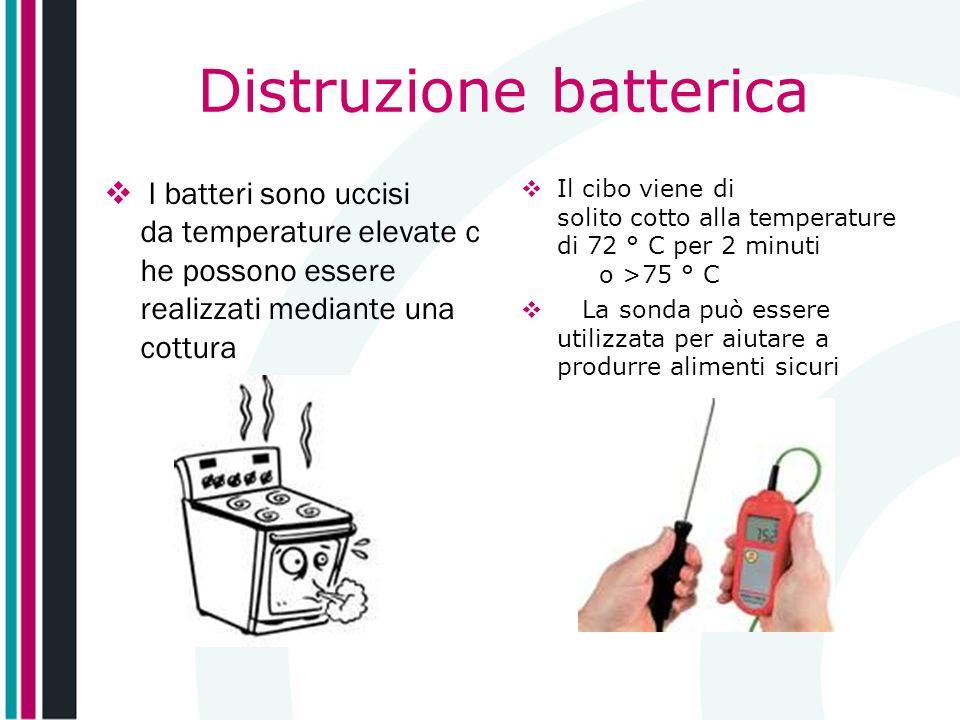 Distruzione batterica I batteri sono uccisi da temperature elevate c he possono essere realizzati mediante una cottura Il cibo viene di solito cotto a