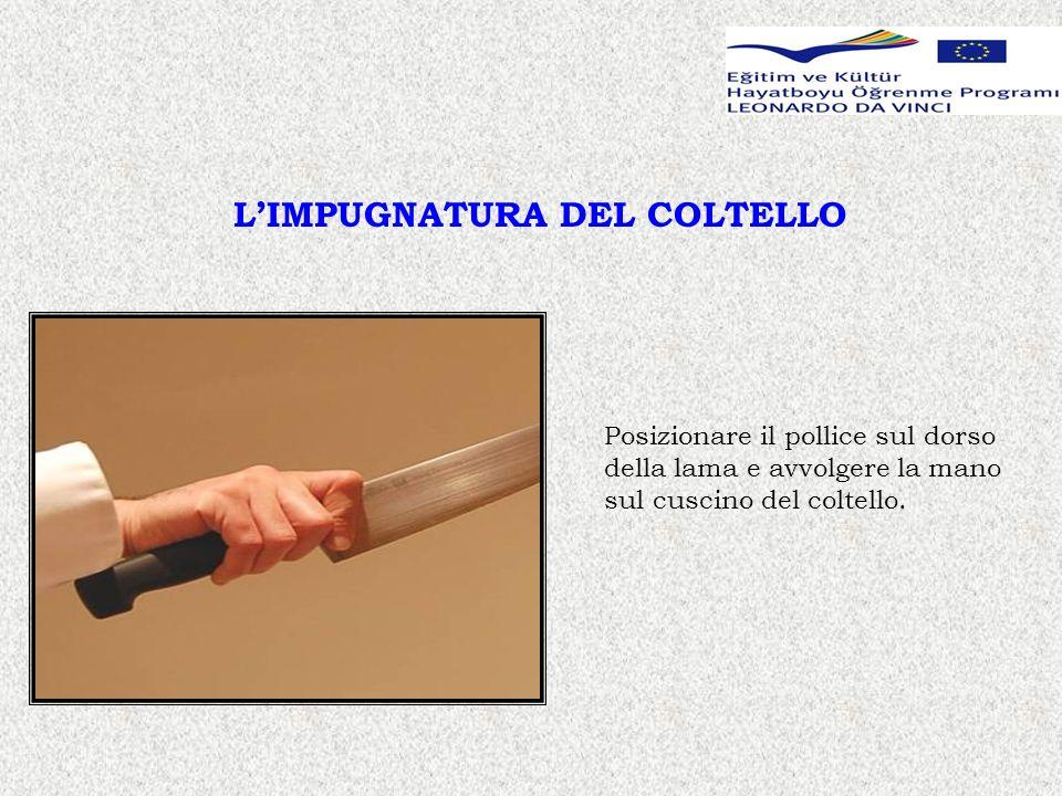 LIMPUGNATURA DEL COLTELLO Posizionare il pollice sul dorso della lama e avvolgere la mano sul cuscino del coltello.