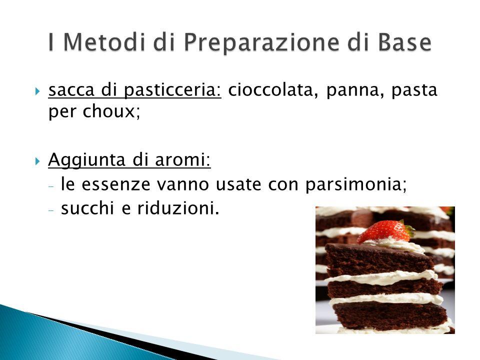 sacca di pasticceria: cioccolata, panna, pasta per choux; Aggiunta di aromi: - le essenze vanno usate con parsimonia; - succhi e riduzioni.