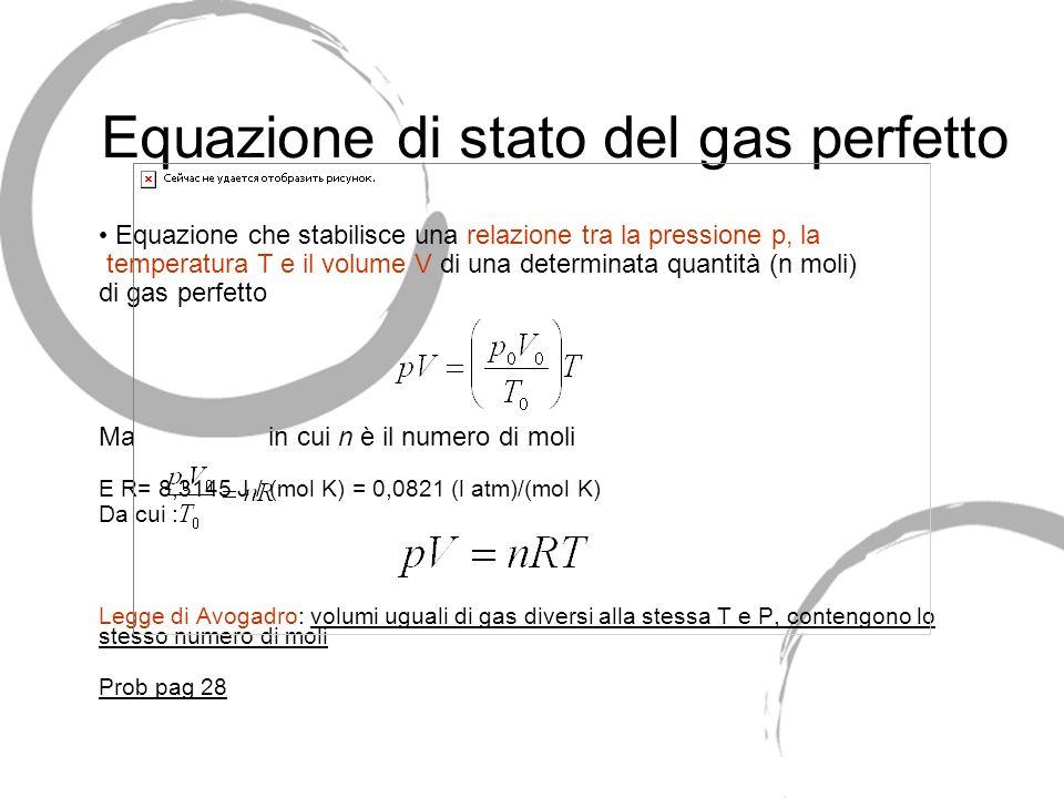 1.9 Il gas perfetto Si chiama gas perfetto un gas ideale che obbedisce esattamente alla legge di Boyle e alle leggi di Gay-Lussac. Il gas perfetto non