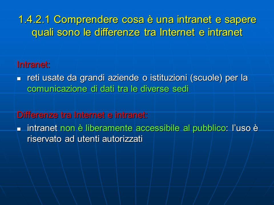 1.4.2.1 Comprendere cosa è una intranet e sapere quali sono le differenze tra Internet e intranet Intranet: reti usate da grandi aziende o istituzioni