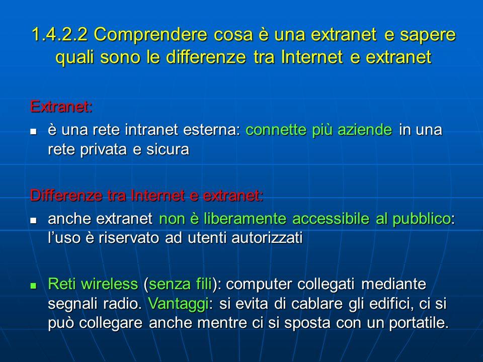1.4.2.2 Comprendere cosa è una extranet e sapere quali sono le differenze tra Internet e extranet Extranet: è una rete intranet esterna: connette più