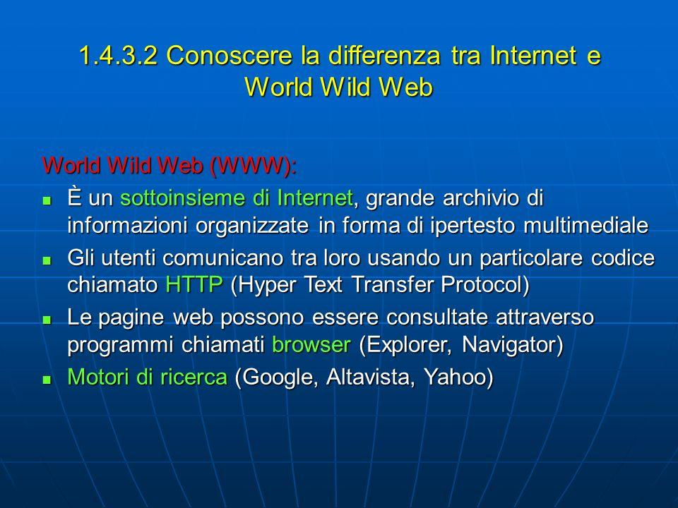 1.4.3.2 Conoscere la differenza tra Internet e World Wild Web World Wild Web (WWW): È un sottoinsieme di Internet, grande archivio di informazioni org