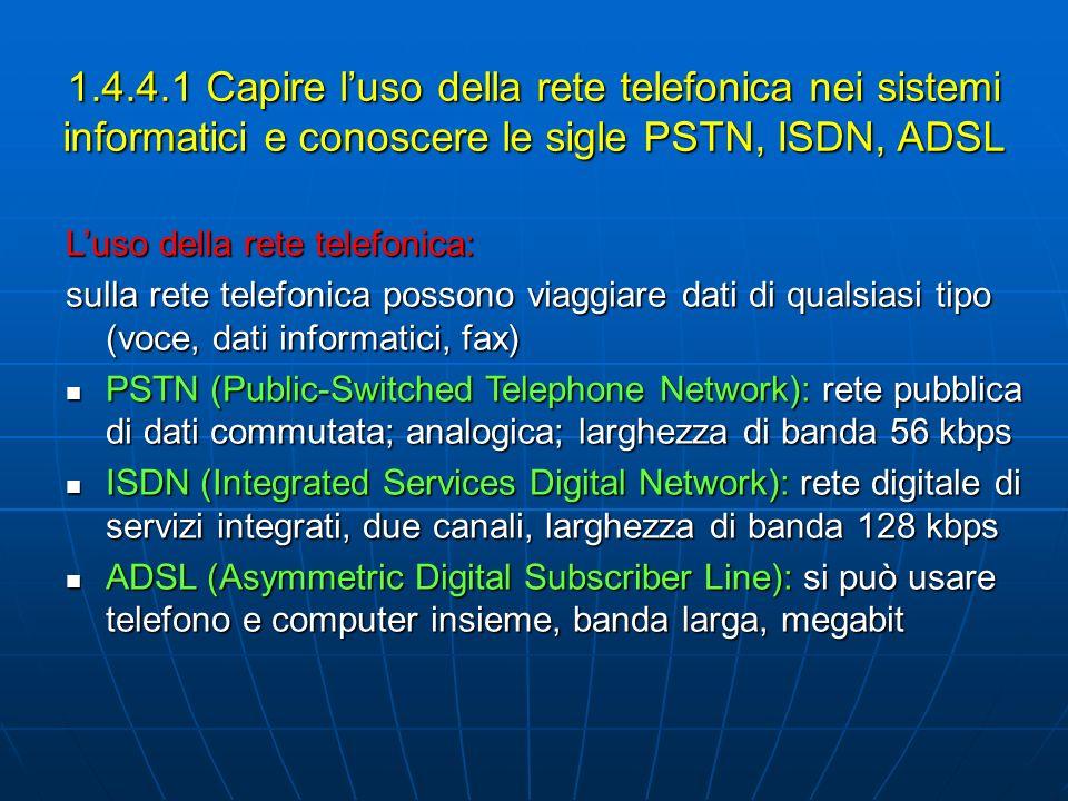 1.4.4.1 Capire luso della rete telefonica nei sistemi informatici e conoscere le sigle PSTN, ISDN, ADSL Luso della rete telefonica: sulla rete telefon