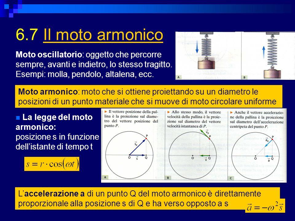 6.7 Il moto armonicoIl moto armonico Moto armonico: moto che si ottiene proiettando su un diametro le posizioni di un punto materiale che si muove di moto circolare uniforme Moto oscillatorio: oggetto che percorre sempre, avanti e indietro, lo stesso tragitto.