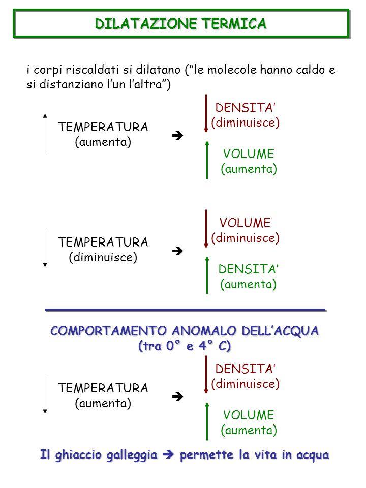 DILATAZIONE TERMICA i corpi riscaldati si dilatano (le molecole hanno caldo e si distanziano lun laltra) TEMPERATURA (aumenta) DENSITA (diminuisce) VO