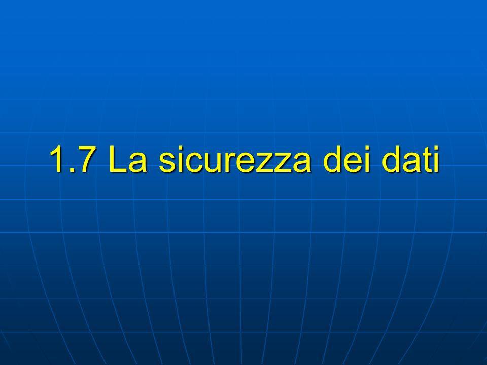 1.7 La sicurezza dei dati