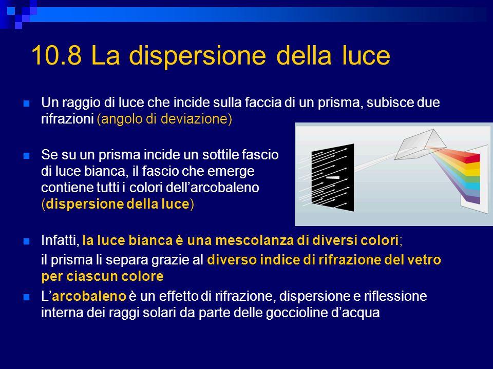 10.8 La dispersione della luce Un raggio di luce che incide sulla faccia di un prisma, subisce due rifrazioni (angolo di deviazione) Se su un prisma i
