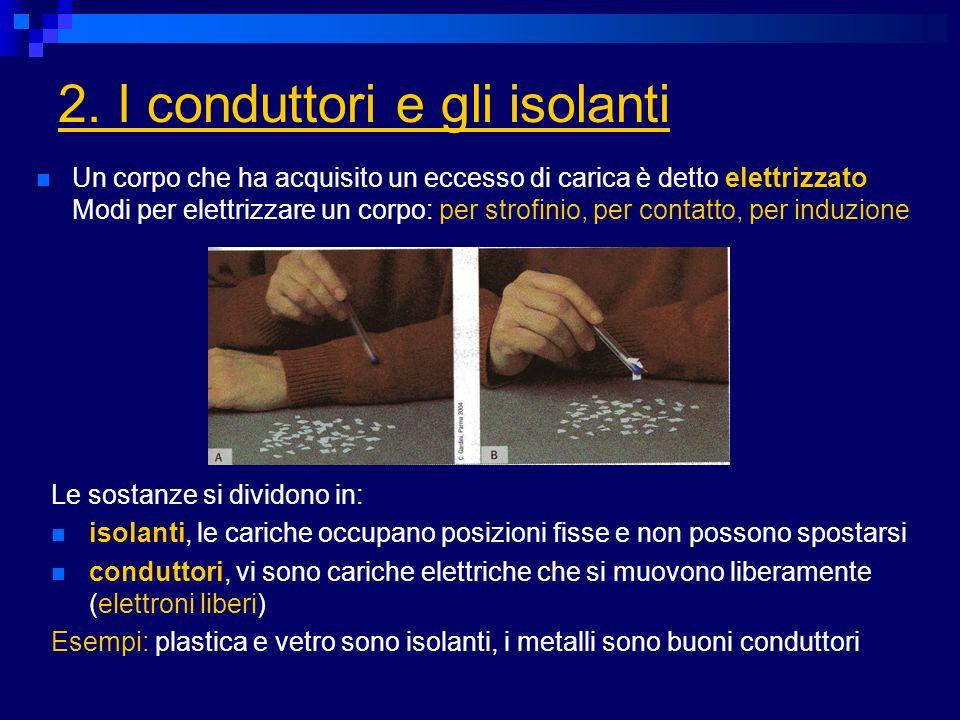 2. I conduttori e gli isolanti Le sostanze si dividono in: isolanti, le cariche occupano posizioni fisse e non possono spostarsi conduttori, vi sono c