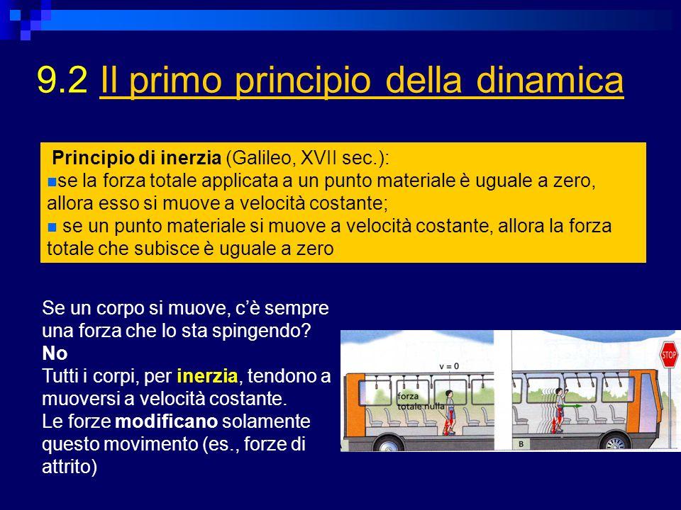 9.2 Il primo principio della dinamicaIl primo principio della dinamica Principio di inerzia (Galileo, XVII sec.): se la forza totale applicata a un pu