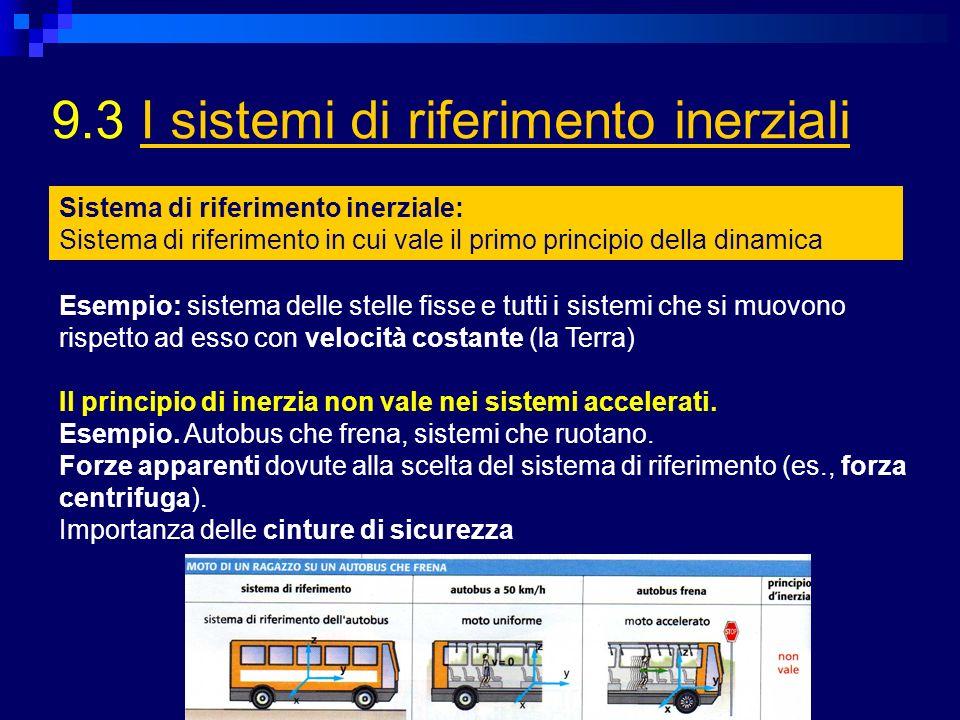 9.3 I sistemi di riferimento inerzialiI sistemi di riferimento inerziali Sistema di riferimento inerziale: Sistema di riferimento in cui vale il primo