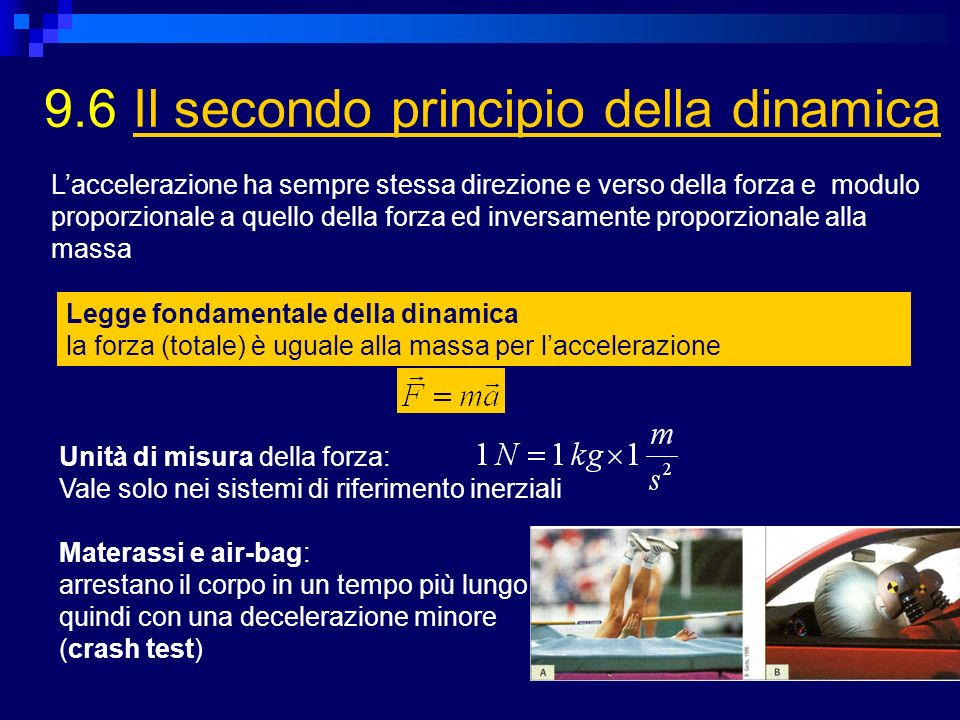 9.6 Il secondo principio della dinamicaIl secondo principio della dinamica Laccelerazione ha sempre stessa direzione e verso della forza e modulo prop