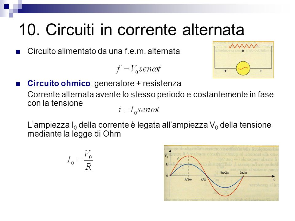10. Circuiti in corrente alternata Circuito alimentato da una f.e.m. alternata Circuito ohmico: generatore + resistenza Corrente alternata avente lo s