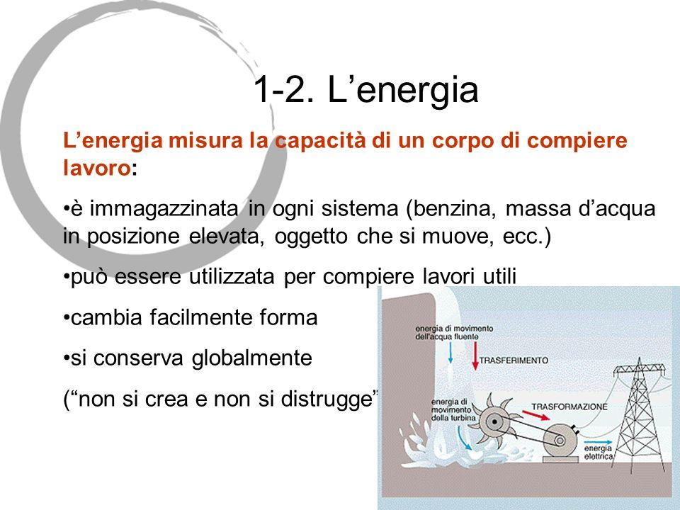 1-2. Lenergia Lenergia misura la capacità di un corpo di compiere lavoro: è immagazzinata in ogni sistema (benzina, massa dacqua in posizione elevata,