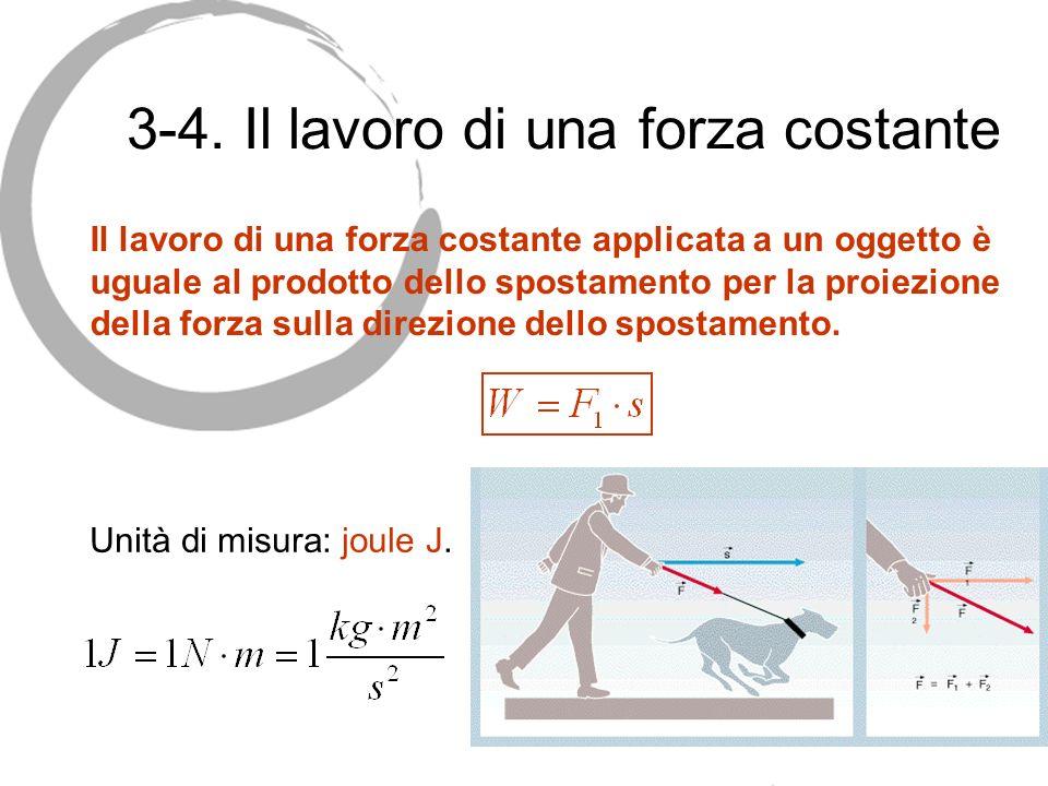 3-4. Il lavoro di una forza costante Unità di misura: joule J. Il lavoro di una forza costante applicata a un oggetto è uguale al prodotto dello spost