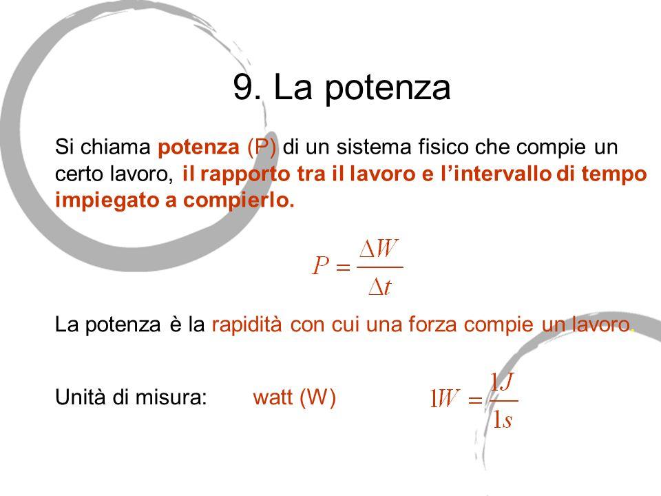 9. La potenza Si chiama potenza (P) di un sistema fisico che compie un certo lavoro, il rapporto tra il lavoro e lintervallo di tempo impiegato a comp