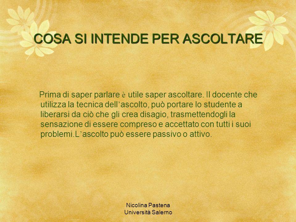 Nicolina Pastena Università Salerno COSA SI INTENDE PER ASCOLTARE Prima di saper parlare è utile saper ascoltare. Il docente che utilizza la tecnica d